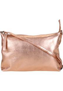 Bolsa Shoestock Metalizada Transversal Feminina - Feminino-Cobre