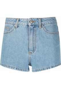 Chiara Ferragni Bermuda Jeans Com Bordado - Azul