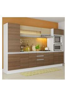Armário De Cozinha Completa Madesa Smart 100 Mdf 300 Cm Com Balcão E Tampo Branco/Rustic Rustic