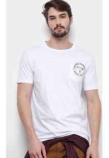 Camiseta Aleatory Bolso Masculina - Masculino-Branco
