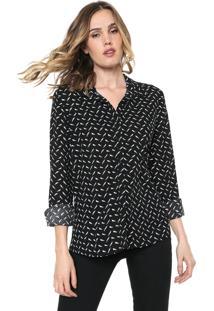 Camisa Facinelli By Mooncity Estampada Preta
