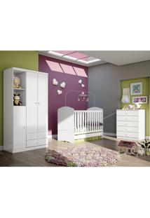 Quarto De Bebê Completo Com Guarda Roupa 3 Portas, Cômoda E Berço Bala De Menta Henn Flex Color