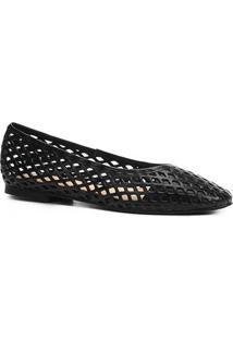 Sapatilha Couro Shoestock Bico Redondo Vazada Feminina - Feminino-Preto
