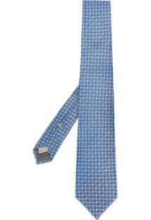 Canali Gravata Com Padronagem Geométrica - Azul