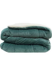 Cobertor Dupla Face Queen Size- Verde & Off White- 2Sultan