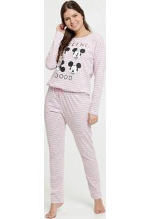 Pijama Feminino Listrado Estampa Mickey Disney