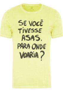 Camiseta Masculina Joss Estonada Onde Você Voaria Amarelo Claro