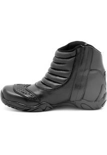 Bota Cano Medio Motoqueiro Atron Shoes Moderno Preto