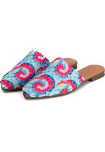 Sapatilha Mule Slip Feminino Confort Bico Fino Tiedye - Multicolorido - Feminino - Dafiti