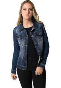 Jaqueta Jeans Eventual Longa Feminina - Feminino-Azul
