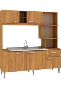 Cozinha Compacta Mell 5 Portas Sem Tampo Nogal - Fellicci