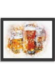 Quadro Decorativo Beer Aquarela Preto - Grande
