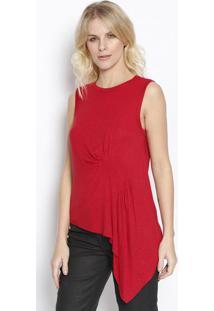 Blusa Assimã©Trica Com Linho - Vermelha - Sommersommer