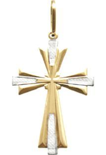 Pingente Prata Mil Cruz Sagrado Cruz Lisa Centro Detalhe Picotado Ouro