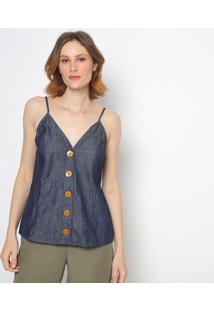 Blusa Jeans Com Botãµes - Azul Escuro - Colccicolcci