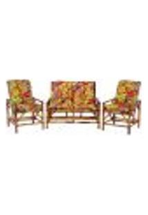 Sofá 2 Lugares 2 Cadeiras De Bambu Cancun Para Area Edicula Jardim G09