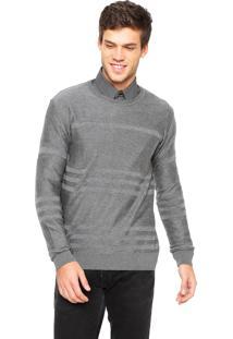 Suéter Calvin Klein Jeans Tricot Listras Cinza