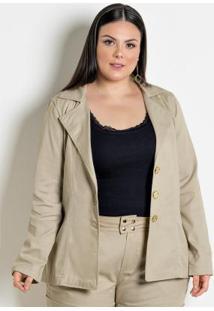 Blazer Feminino Plus Size Bege