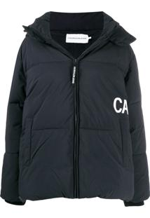 Calvin Klein Jeans Jaqueta Matelassê Oversized Com Logo E Capuz - Preto