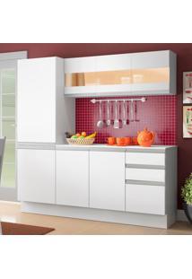 Cozinha Compacta 100% Mdf Madesa Smart 170 Cm Modulada Com Armário, Balcão E Tampo Branco