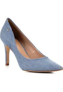 Scarpin Shoestock Jeans Salto Médio - Feminino-Azul