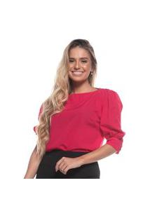 Blusa Feminina Lisa Manga Bufante Decote Ombro A Ombro Pink Gg Rosa