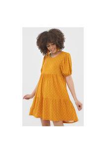 Vestido Fiveblu Curto Manga Bufante Amarelo