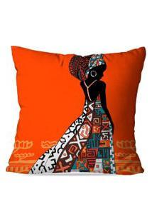 Capa Para Almofada Avulsa Decorativa Africana Laranja 35X35Cm