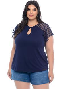 Blusa Plus Size Forma Rara Azul Marinho Viscolycra Com Tule De Poá
