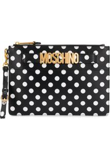 Moschino Clutch Com Estampa - Preto