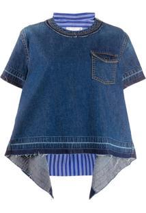 Sacai Blusa Com Recorte Contrastante Posterior - Azul