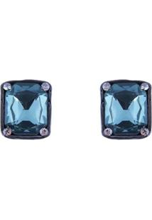 Brinco Armazem Rr Bijoux Cristal Quadrado Azul