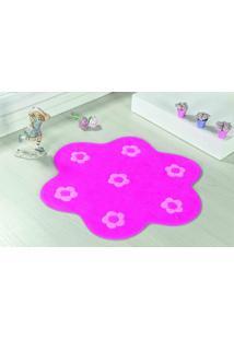 Tapete Com Antiderrapante Formato Jardim 70X70Cm Pink