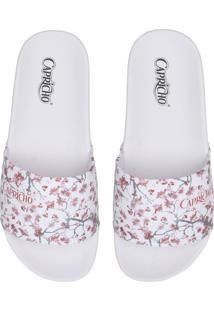Chinelo Slide Capricho Cherry Blossom Branco