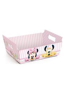 Cesta Caixote Organizadora Papel Minnie Disney Festa C/10