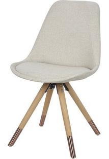 Cadeira Lunes Assento Tecido Bege Com Base Madeira - 53186 - Sun House