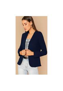 Blazer Feminino Acinturado Premium-Feminino - Azul Marinho