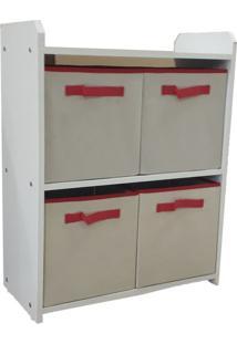 Estante Nicho Com Caixas Puxador Alça Vermelho - Organibox