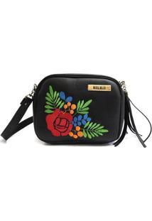 Bolsa Maria Milão Mini Bag Flores Feminina - Feminino-Preto