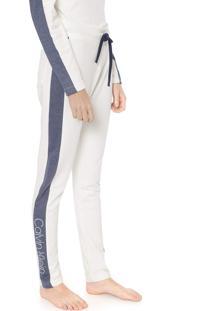 Calça Moletom Calvin Klein Underwear Reta Lettering Off-White/Azul