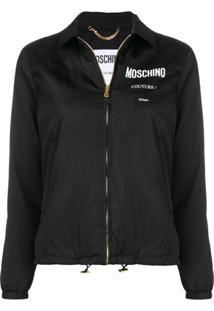 Moschino Logo Print Zipped Jacket - Preto