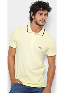 Camisa Polo Wrangler Friso Bordada Masculina - Masculino-Amarelo