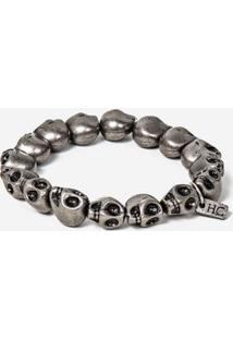 Pulseira Silver Skull 100166-Cinza Escuro-Único