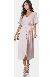 Vestido Mídi Com Cinto Tecido Rosa Apricot - Lez A Lez