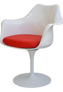 Cadeira Saarinen Branco Com Braco (Almofada Vermelha) -15055 Sun House