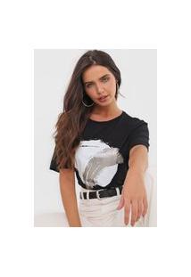 Camiseta Maria Valentina Estampada Preta