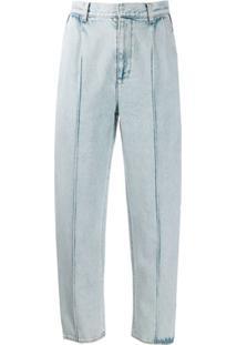 Alexander Mcqueen Calça Jeans Reta Com Recortes Laterais - Azul