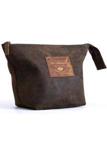 Necessaire Unisex Pool Hylberman Em Couro Vintage Com Forração Acetinada Marrom