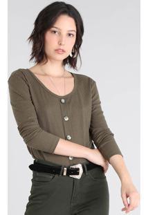 Blusa Feminina Canelada Com Botões Manga Longa Verde Militar