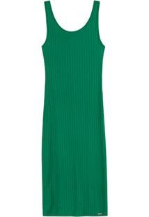 Vestido Verde Mídi Canelado Com Abertura